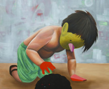 Carlos Donjuan, Mijo 2013, acrylic on canvas, 22x122-cm