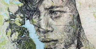 Ed Fairburn - Map Portraits - Pencil on a cropped map of the English Lakes – specifically Lake Windermere.