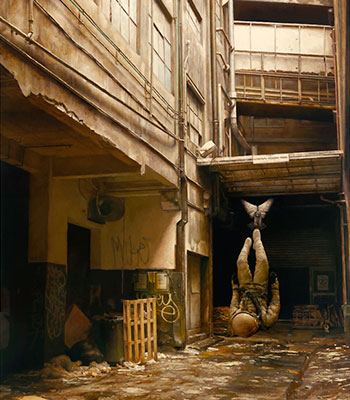 The Street 2010  Oil on Board
