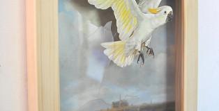 Alex Urso - Escape from a picture (after van Ruisdael), box di legno, vetro, figura di carta, 38 x 25 x 5 cm, 2014