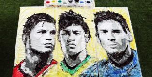 Red Hong Yi - Football paintings, Ronaldo, Messi, Neymar, Fifa World Cup, 2014