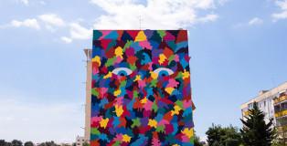 "Pigment workroom - Social Urban Art, ""San Pio is watching you"", Bari."