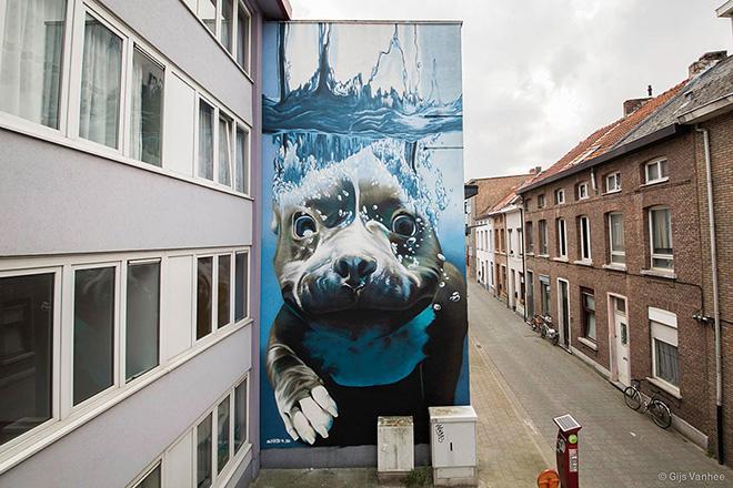 Smates - Hyperrealistic dog under water mural - Street art Belgium