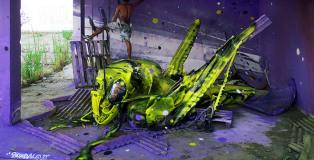 Bordalo II - Street Art, Space grasshopper