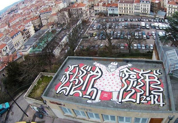 Mamie, Papiers Peintres - Aerial street art