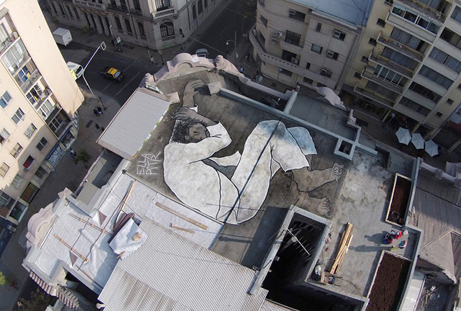 This summer in Chile., Papiers Peintres - Aerial street art