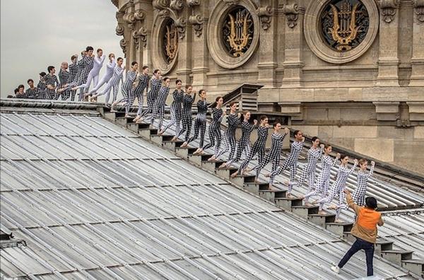 Dancers on the rooftop of the Opera Garnier, Paris