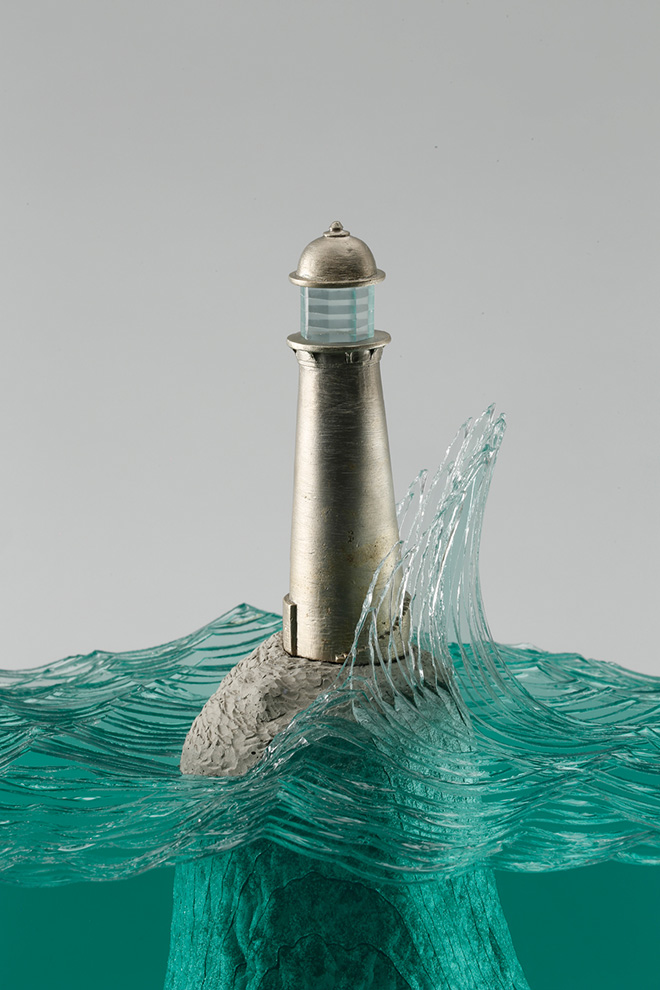 Glass sculptures, Lonesome Light, Laminated clear float glass with cast concrete base and cast white bronze lighthouse