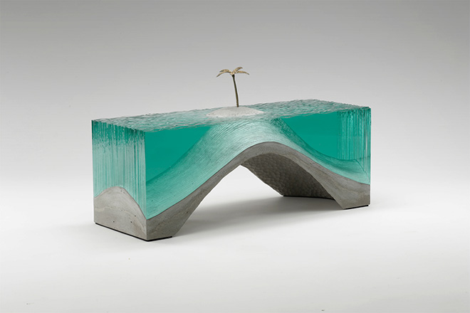 Glass sculptures, Deserted, Laminated clear float glass with cast concrete base and cast white bronze palm tree