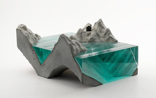 Glass sculptures, Fjord, Laminated clear float glass with cast concrete base and cast white bronze cabin.