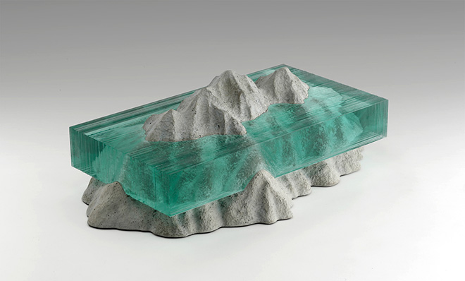 Glass sculptures, New Lands II, Laminated clear float glass with cast concrete.
