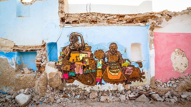 Il villaggio della street art in Tunisia, mural by american artist swoon