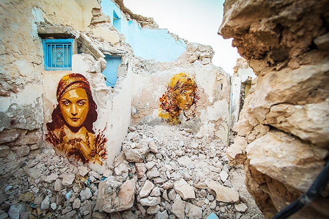 Il villaggio della street art in Tunisia, mural by spanish artist B-TOY