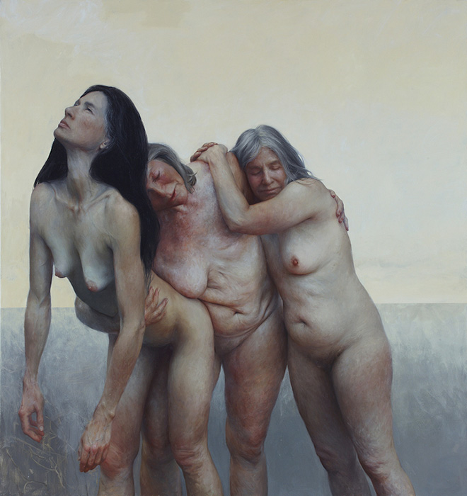 The three graces - Oil on canvas, 76 x 74 inches