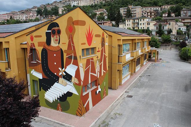 Agostino Iacurci - Street Art - Homo Paleolicus, Via Casilina, Arce, Italy