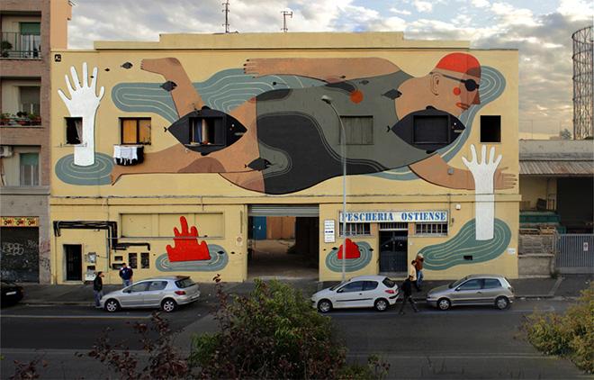Street Art, Fish'n'kids - Via del Porto Fluviale, Rome