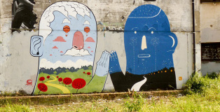 Agostino Iacurci - Street Art, SMEMo - Work made together with Mr.Thoms