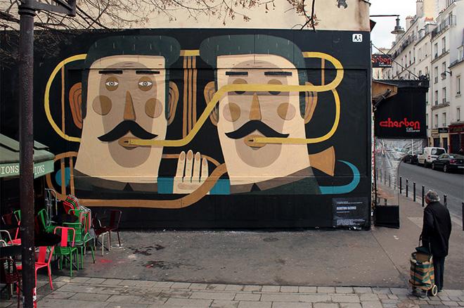 Street Art, The dialogue - Made for Le Mur, Oberkampf, Paris, 2013