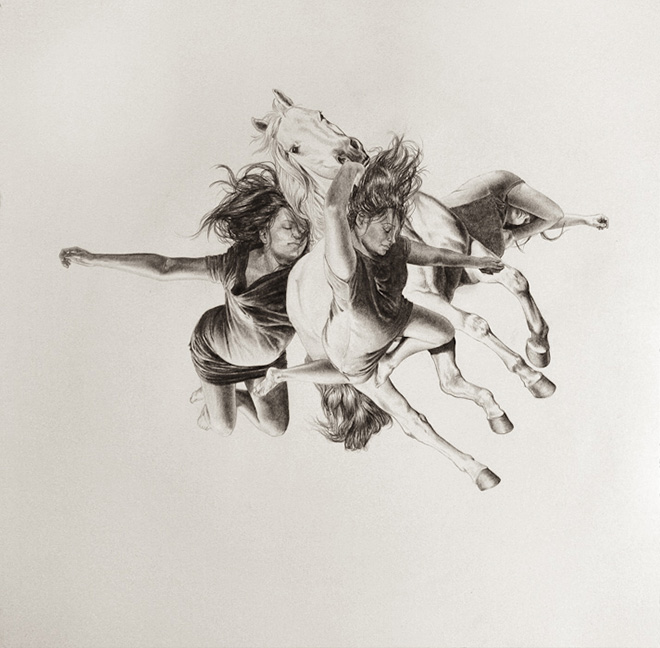 Leah Yerpe - Riannon, 16 X 16 Inches Graphite and Ink On Paper, 2011