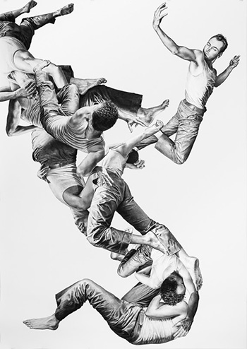 Leah Yerpe - Columba, 2012, charcoal on paper, 102 x 72 inches