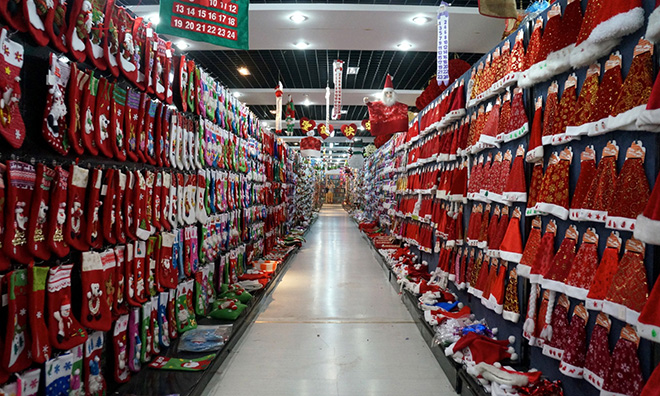 Santa hats galore … inside one of Yiwu's Christmas showrooms. Photograph: Dan Williams/Unknown Fields