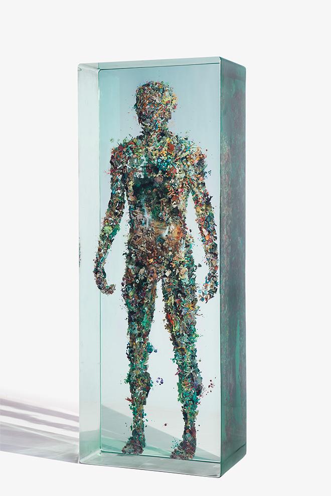 Psychogeography 31 - 2013, Glass, collage, acrylic.