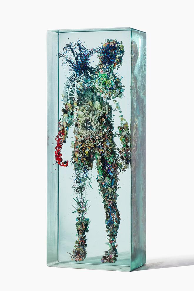Psychogeography 45 - 2014, Glass, collage, acrylic.