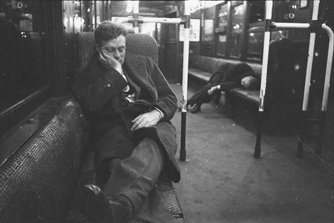 Stanley Kubrick. Life and Love on the New York City Subway. Men sleeping in a subway car. 1946. Museum of the City of New York. X2011.4.10292.73C