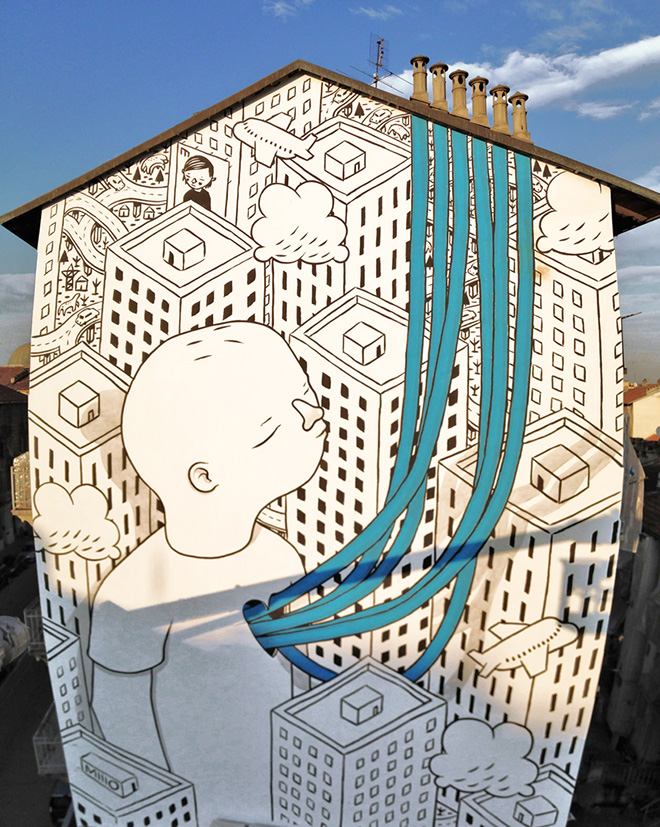 Millo - Street art, Mural #13 for Bart - Torino