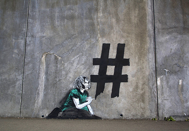 iHeart - Social media street art - Hashtag