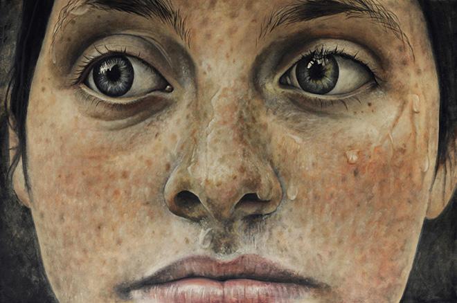Erica Elan Ciganek - Befitting, Oil painting on Baltic Birch Plywood