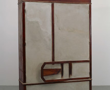 Doris Salcedo - Untitled, 1998, Wooden armoire, wooden chair, concrete, and steel - 84 1/4 x 58 7/8 x 22 1/2 in. (214 x 149.5 x 57 cm). Tate: Presented by the American Fund for the Tate Gallery 1999. Photo: David Heald - Reproduced courtesy of the artist; Alexander and Bonin, New York; and White Cube, London