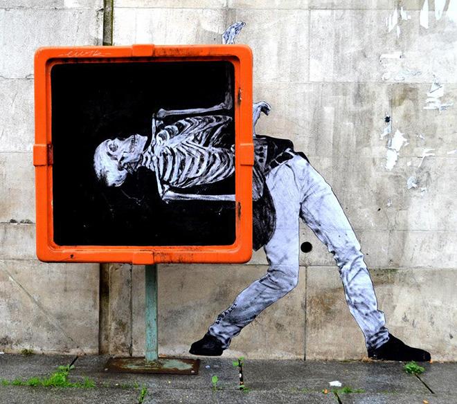 Levalet, Macabre Dance - Canal de l'ourcq - Paris