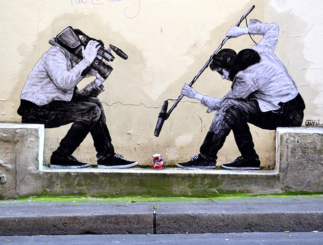 Levalet - 15 minutes of fame, street art - Paris