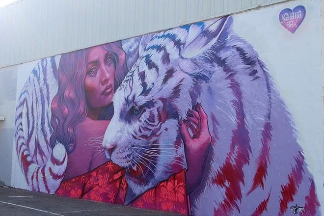 Natalia Rak murales - Pow Pow Hawaii street art festival
