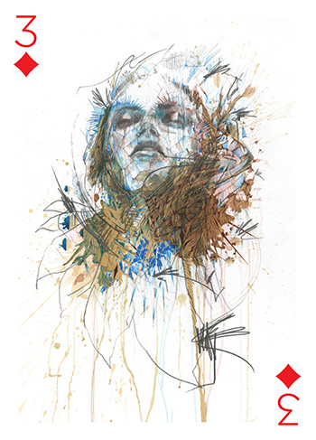 Playing Arts - Three of Diamonds by Carne Griffiths