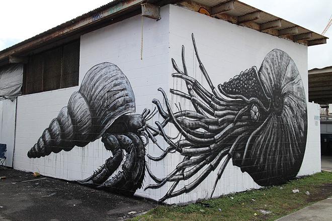 Roa murales - Pow Pow Hawaii street art festival