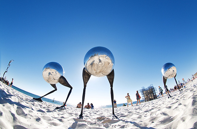 Brad Jackson, wanderers conventus, Sculpture by the Sea, Cottesloe 2015. Photo Jarrad Seng