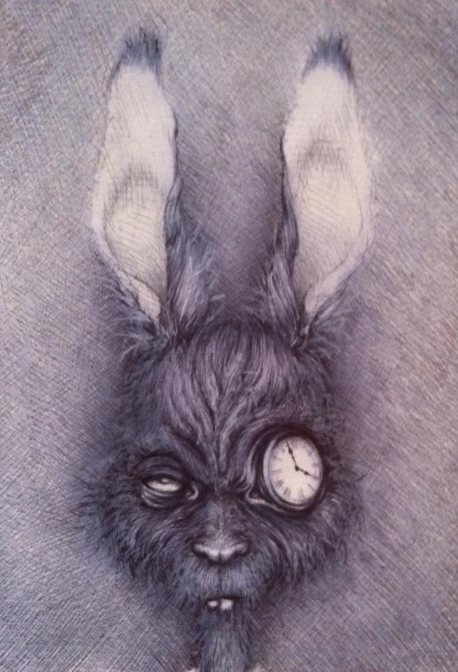 Vavje - Alice Is Late I, bic/white pencil on paper
