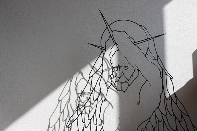 Gavin Worth, Angel Ashamed - Steel rods, 100cm x 100cm x 20cm