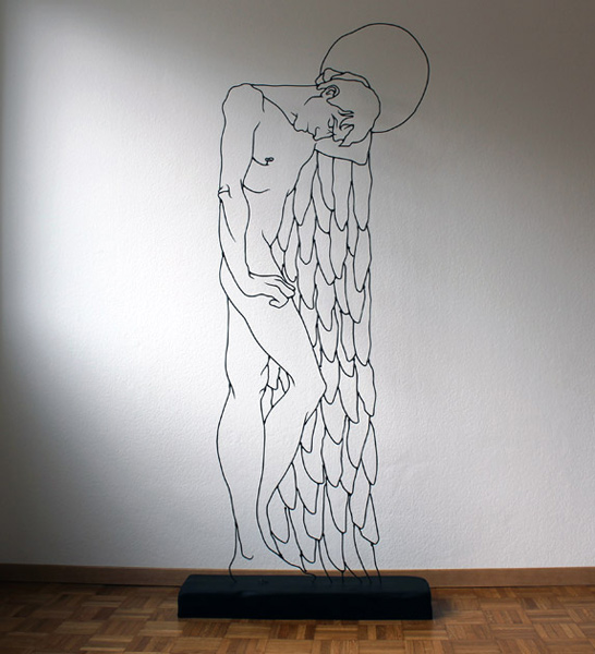 Gavin Worth, Angel Sleeping - Steel rods, 186cm x 76cm x 20cm