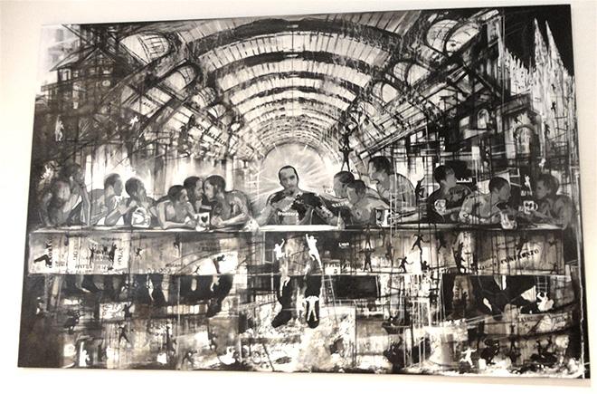 Danis Montero Ascanio - Mi primera cena en Milàn, 2015 - acrilico, serigrafia, carboncino su tela