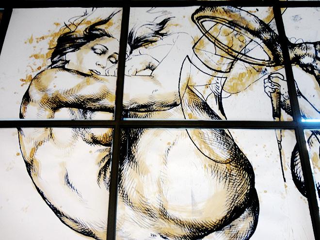 Giovanni Manzoni Piazzalunga - Piccole credenze, 2014, tecnica mista con caffè su carta