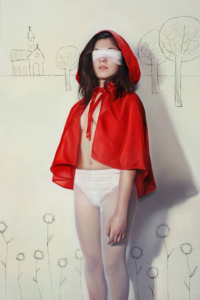 Elisa Anfuso - Attenta al lupo (Di Sogni e di Carne) - Olio e pastelli su tela, cm 80x120, 2013