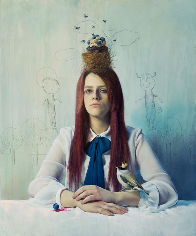 Elisa Anfuso - In camera caritatis (La caduta di Eva) - Olio su tela, cm 100x120, 2014