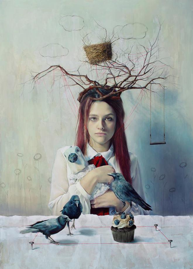 Elisa Anfuso - E liberaci da tutti i rami (La caduta di Eva) - Olio e pastelli su tela, cm 130x180, 2014