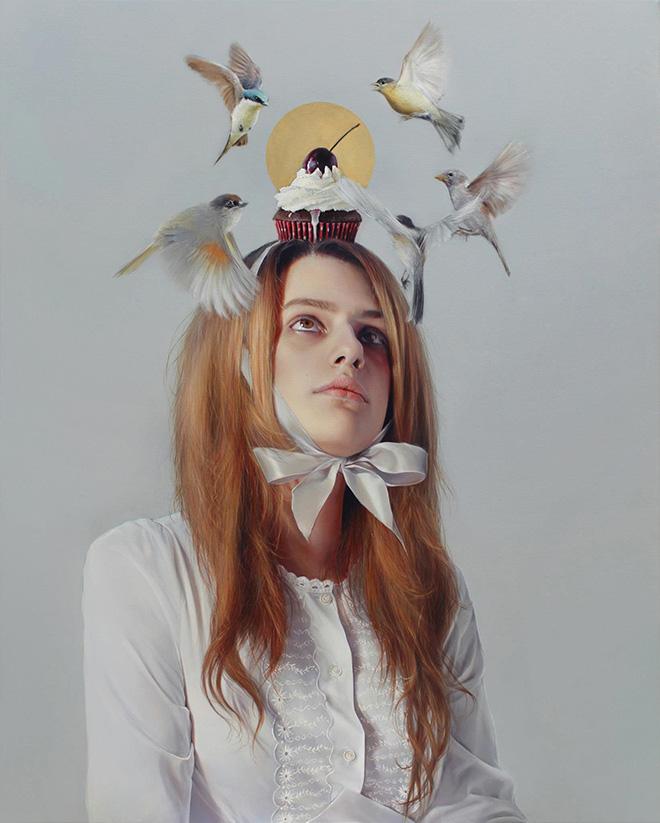 Elisa Anfuso - Tutti giù per terra (Di sogni e di carne) - Olio su tela, cm 100x80, 2013