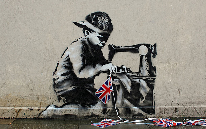 Banksy - Slave Labour Boy, London, 2006 - Stencil and Spray Paint on Stucco, 48 x 60 inches - Original street work