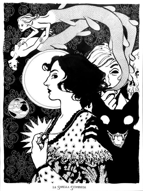 Nicolò Pellizzon - La sorella scomparsa, 2012 - 50×70 - Ink on paper