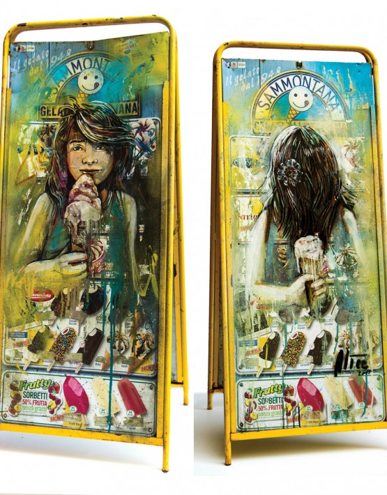 Alice Pasquini - Red fruits, 2015 - 43×104×40 cm - Acrylic and spray on icecream signboard